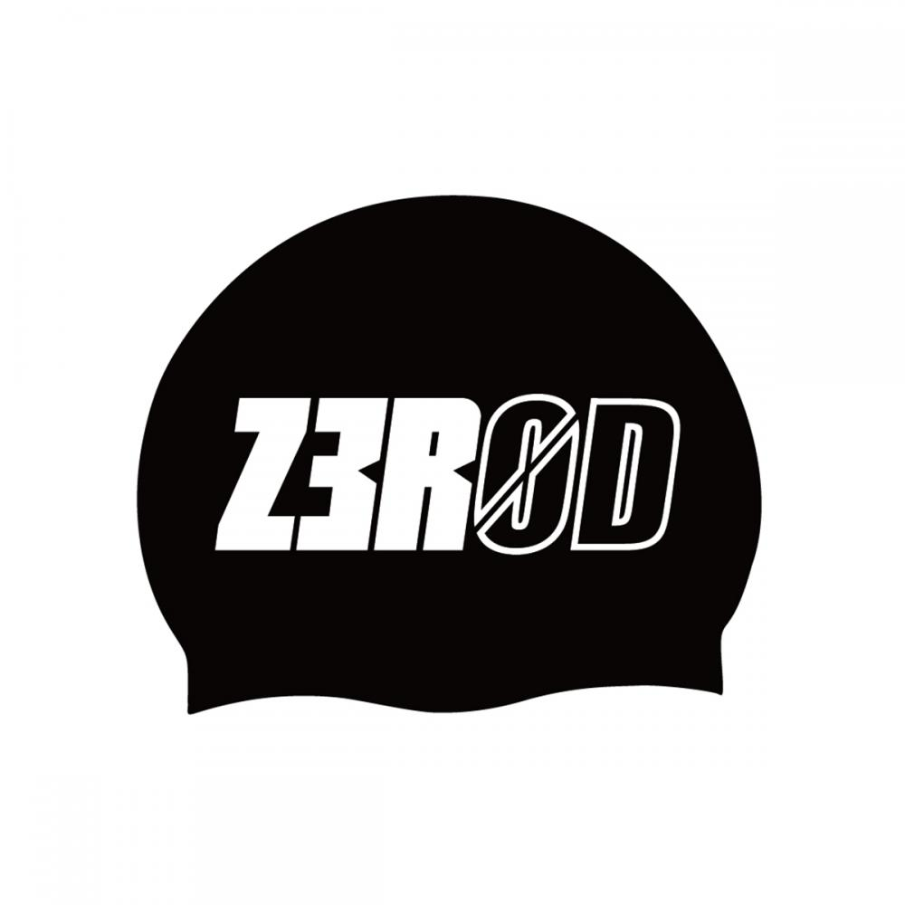 SWIM CAP BLACK LARGE LOGO